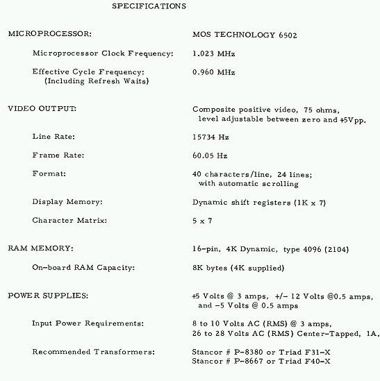 Apple 1 specifications