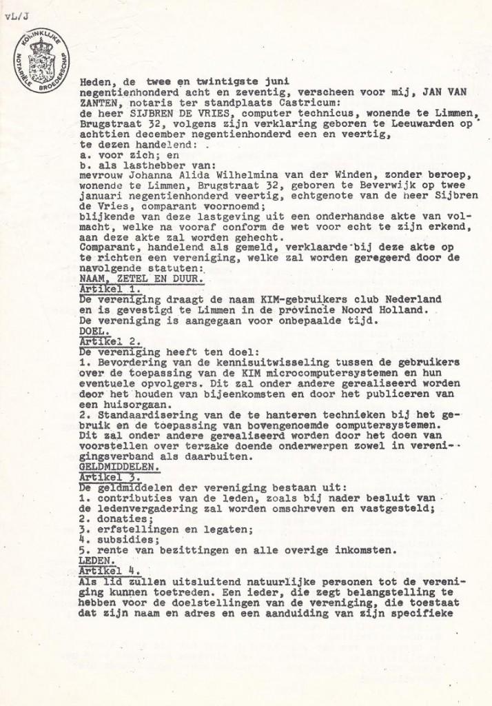 KIM gebruikersclub vereniging oprichting pag 1