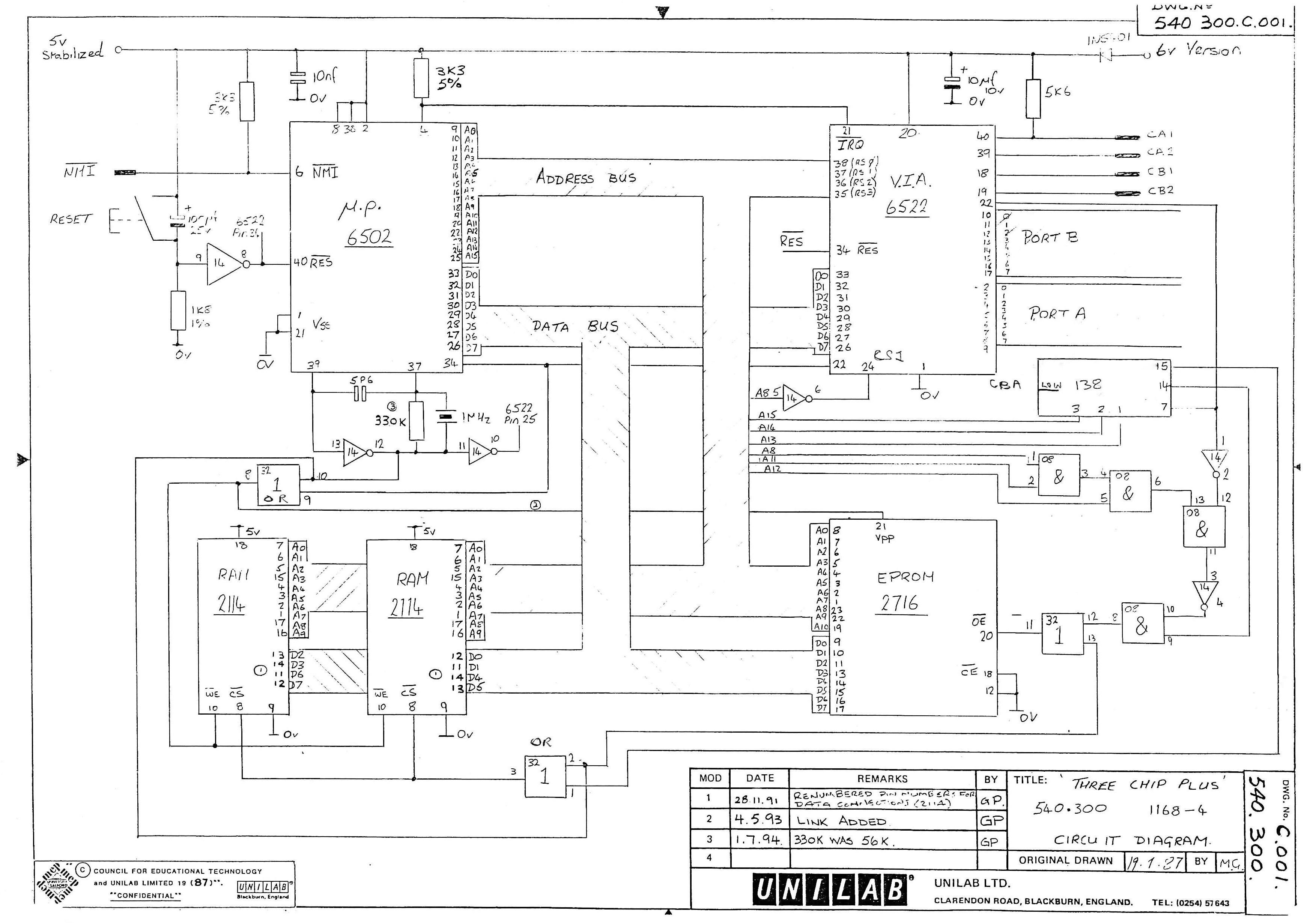 Three Chips Plus Retro Computing 6502 Logic Diagram Circuit3chipplus